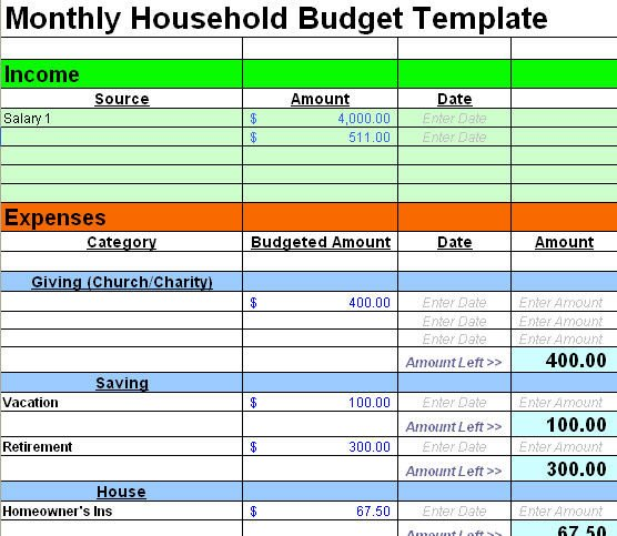 Free Household Budget Template Free Sample Bud Spreadsheet Leave Debt Behind