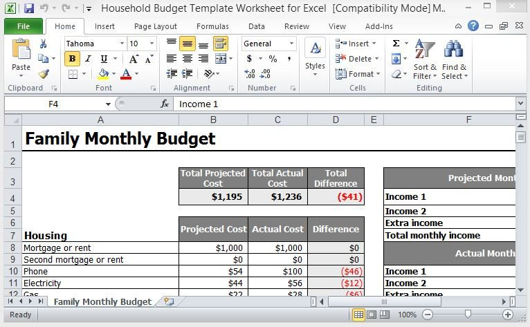 Free Household Budget Template Household Bud Template Worksheet for Excel
