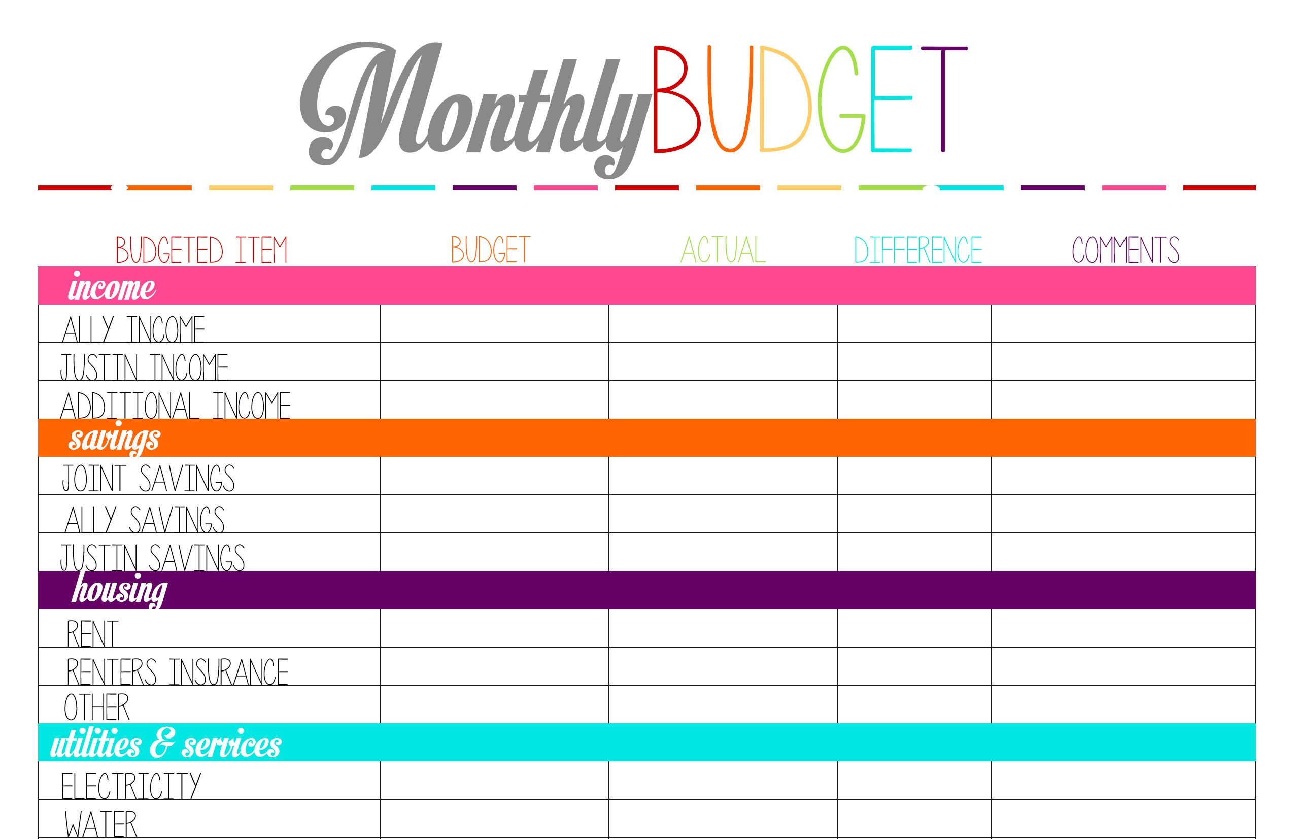 Free Household Budget Template top 5 Posts Of 2014 – Ally Jean Blog