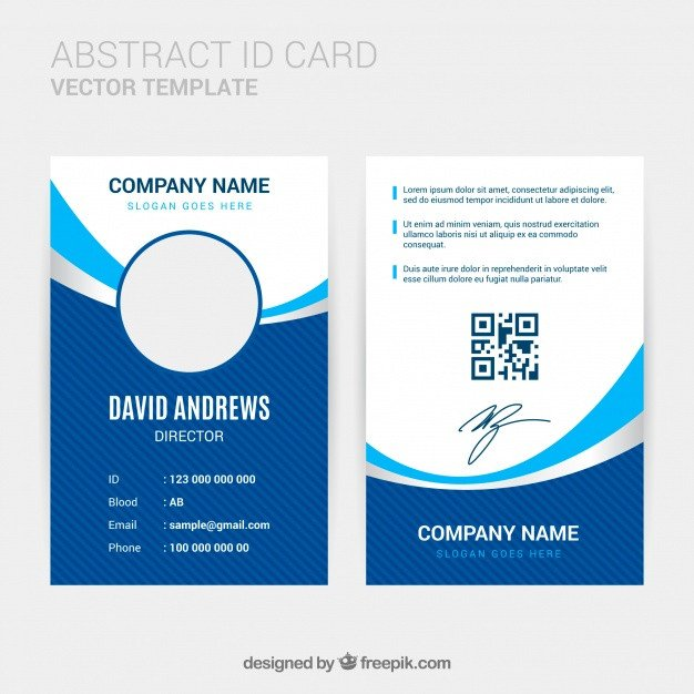 Free Id Badge Template Abstract Id Card Template with Flat Design Vector