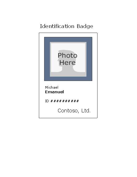 Free Id Badge Templates Employee Photo Id Badge Portrait