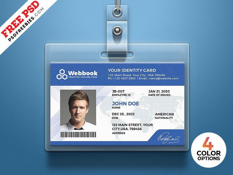 Free Id Badge Templates Free Id Card Template Psd Set