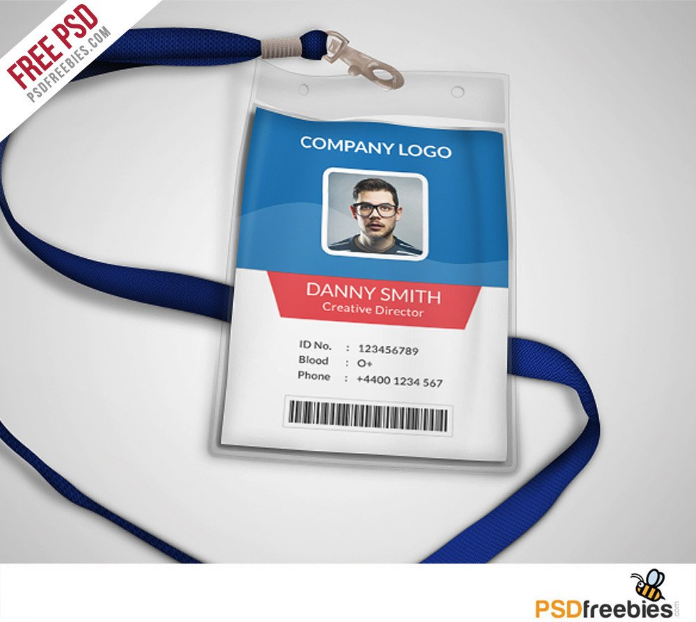 Free Id Badge Templates Multipurpose Pany Id Card Free Psd Template