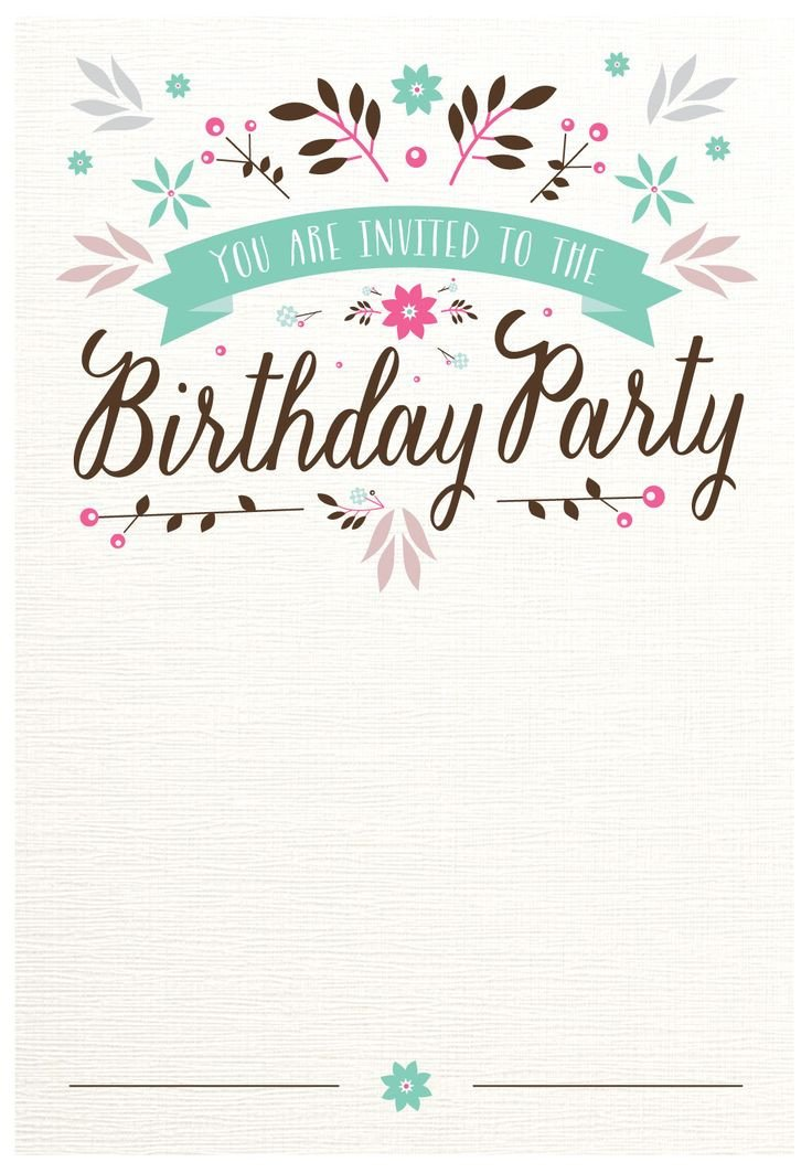 Free Invitation Template Printable Flat Floral Free Printable Birthday Invitation Template