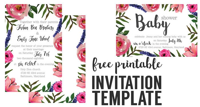 Free Invitation Template Printable Floral Invitation Free Printable Invitation Templates