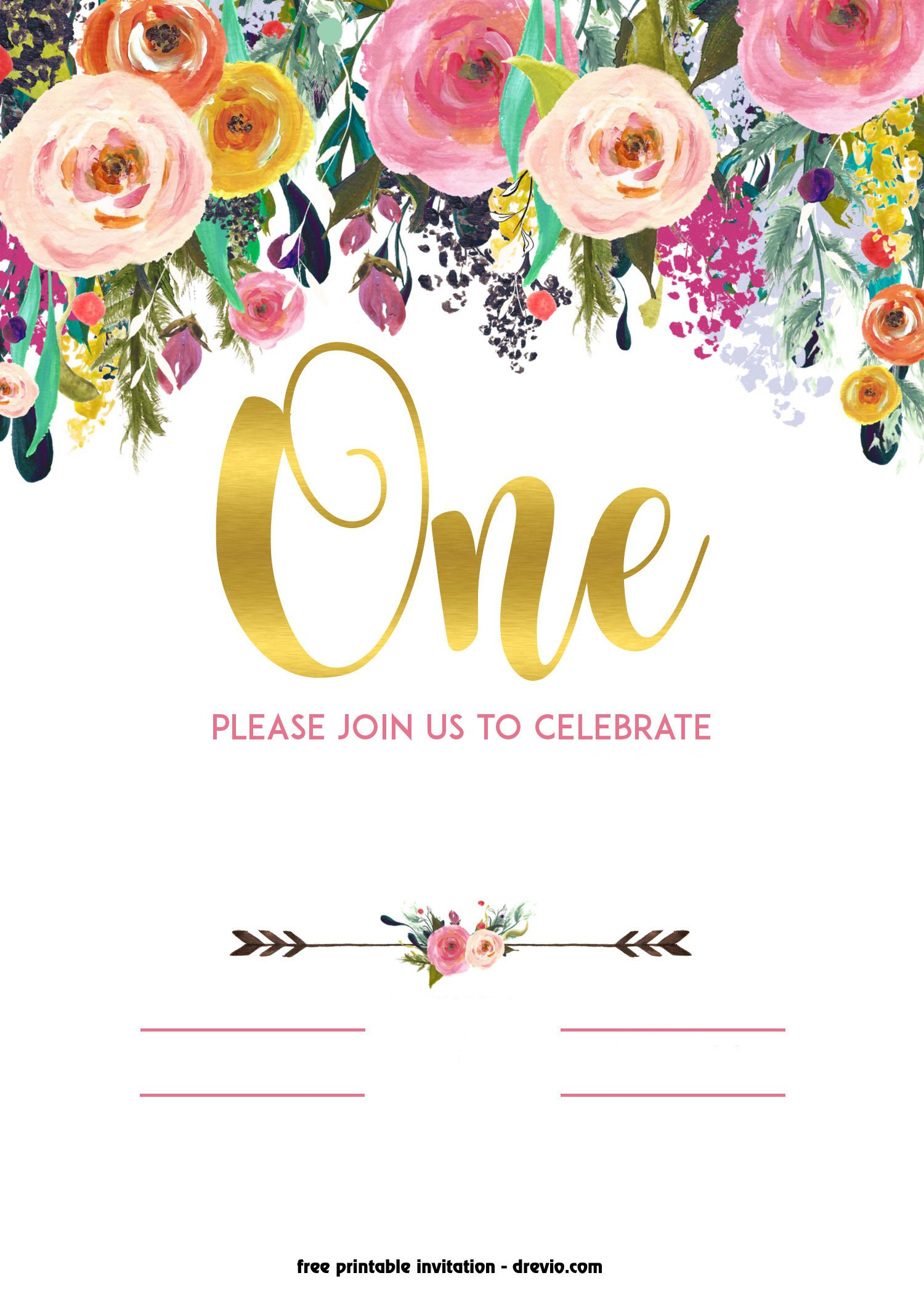 Free Invitation Template Printable Free Printable 1st Birthday Invitation – Vintage Style