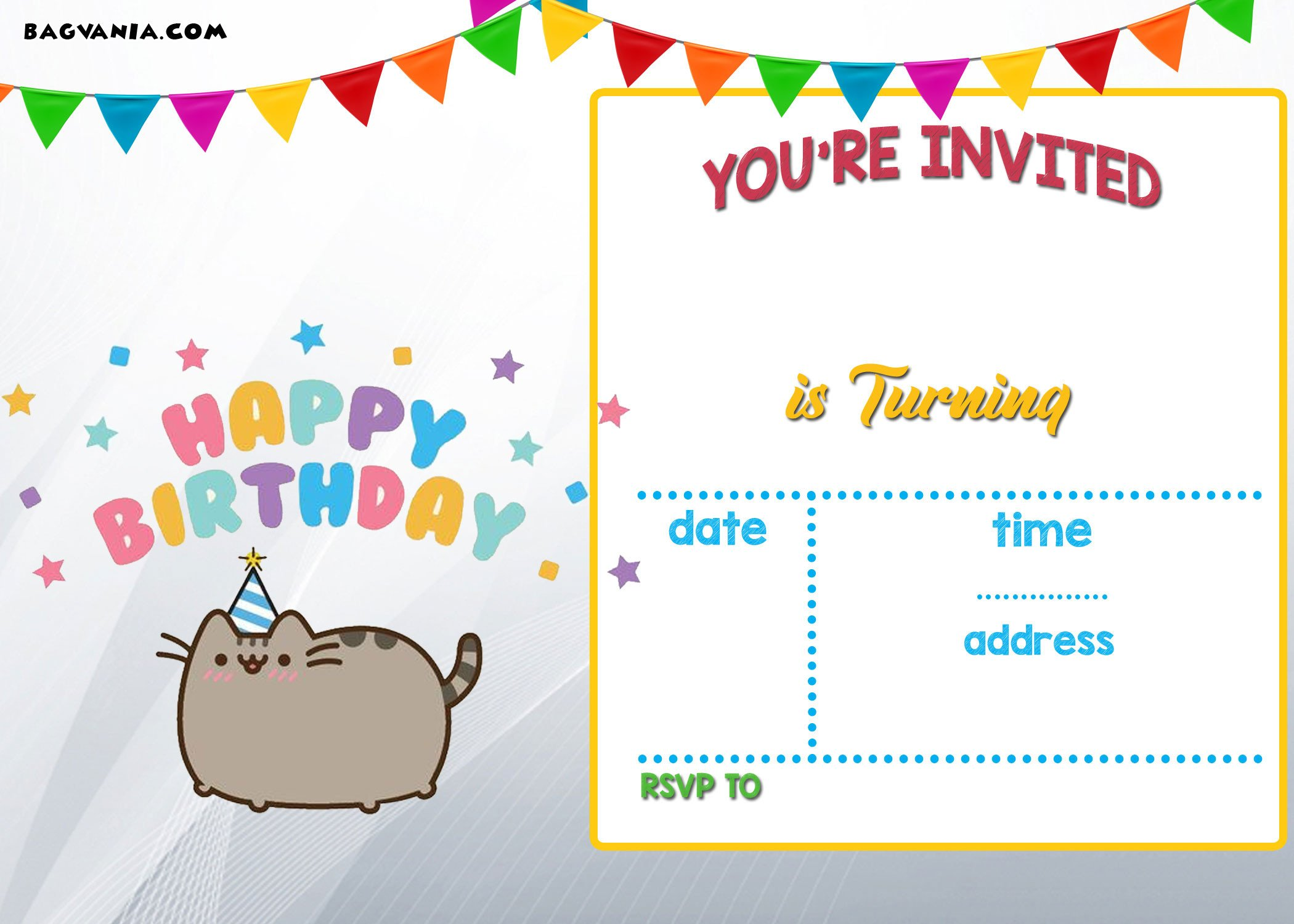 Free Invitation Template Printable Free Printable Pusheen Birthday Invitation Template