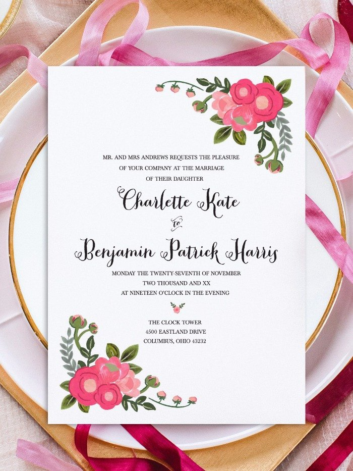 Free Invitation Template Printable Print Pink Flowers Free Printable Invitation Templates