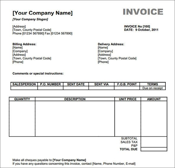 Free Invoice Template for Word 54 Blank Invoice Template Word Google Docs Google Sheets