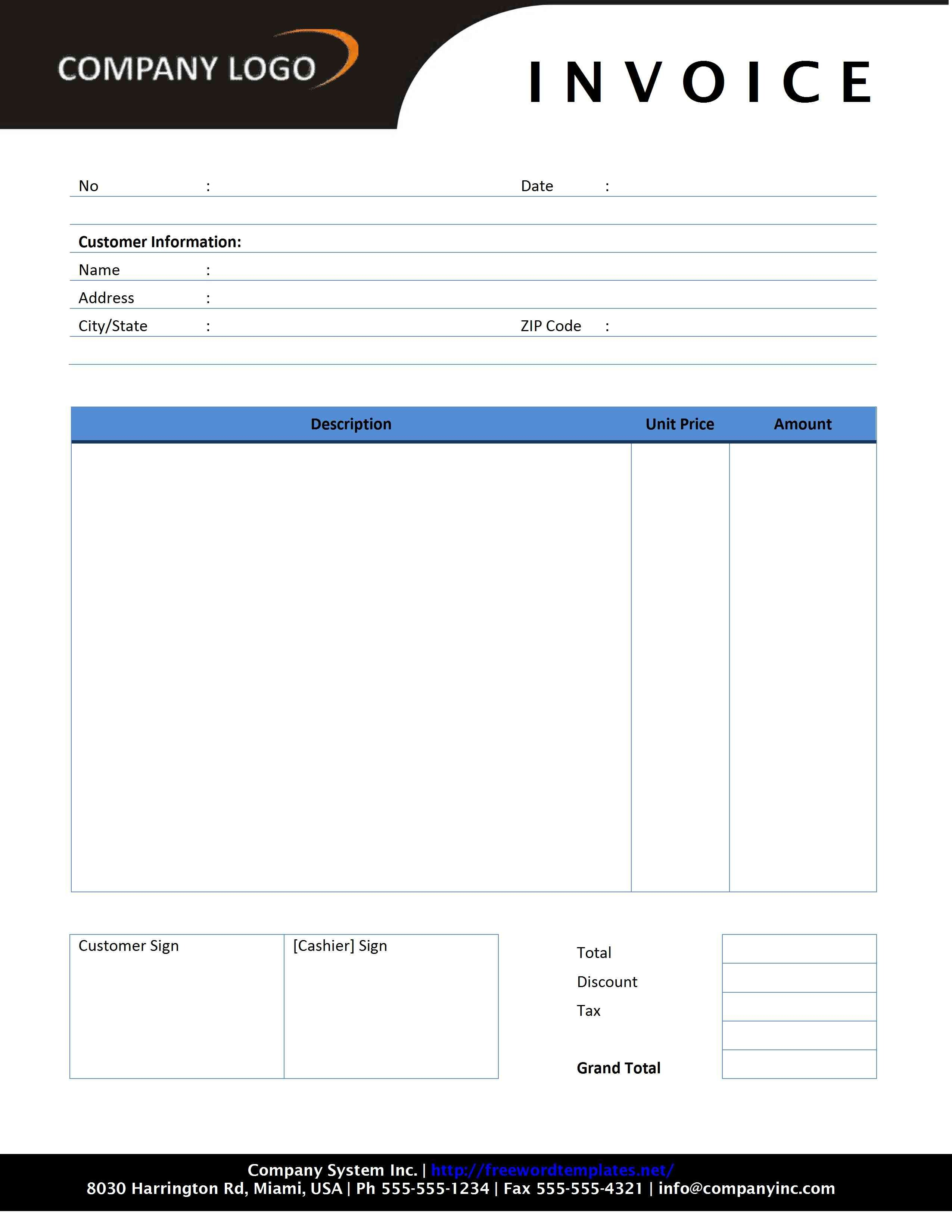 Free Invoice Template for Word Plumbing Invoice Template