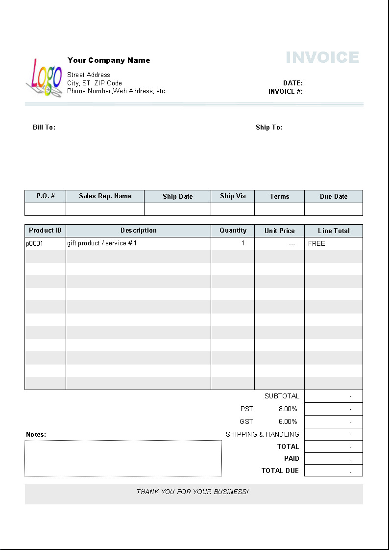 Free Invoice Template for Word Show Word Free for Gifts Uniform Invoice software