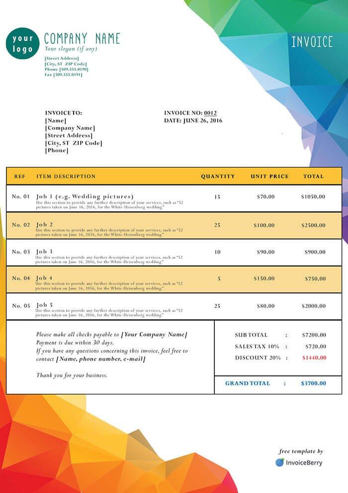 Free Invoice Template Pdf Free Pdf Invoice Templates