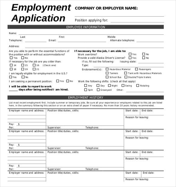 Free Job Application Template 21 Employment Application Templates Pdf Doc