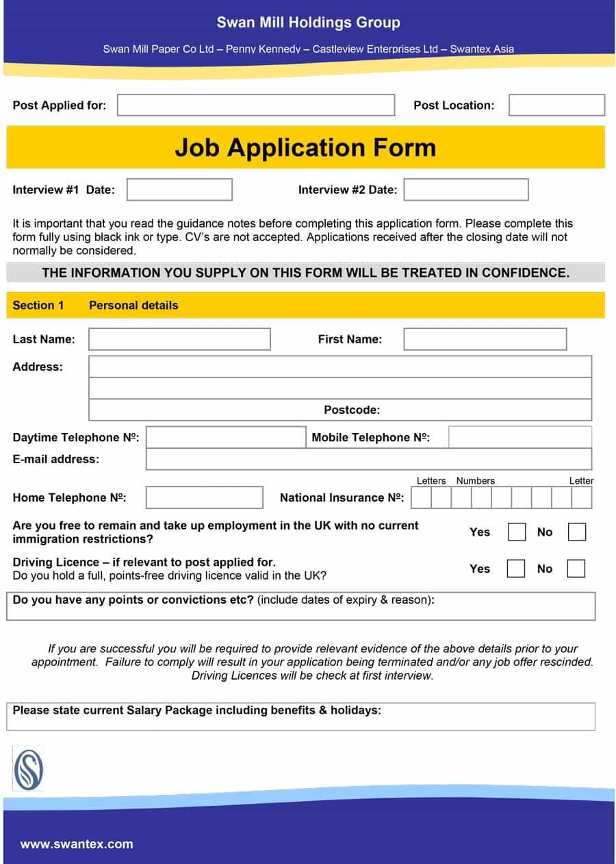 Free Job Application Template 50 Free Employment Job Application form Templates