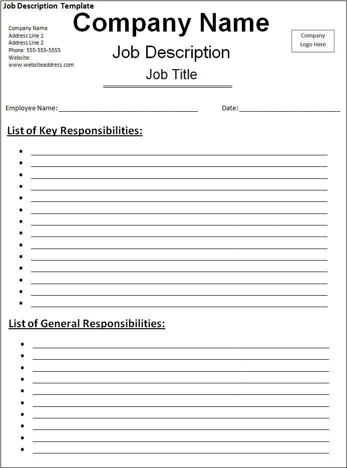 Free Job Description Template 10 Job Description Templates