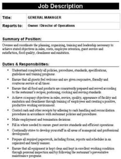 Free Job Description Template 19 Free Job Description Templates In Word Excel Pdf