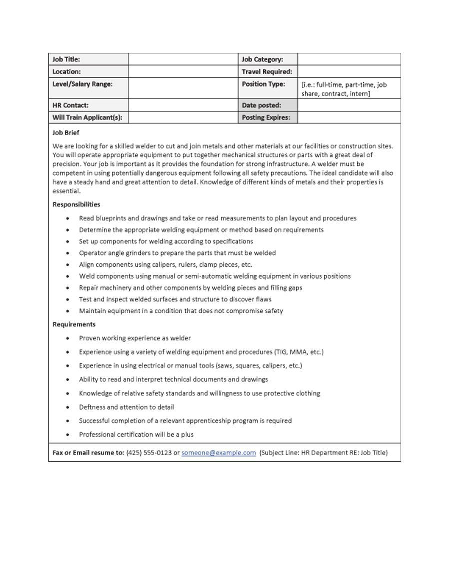 Free Job Description Template 49 Free Job Description Templates & Examples Free