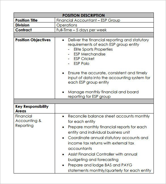 Free Job Description Template Accountant Job Description Template 12 Free Word Pdf