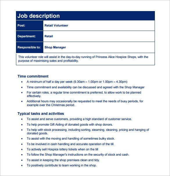 Free Job Description Template Customer Service Job Description Templates 15 Free