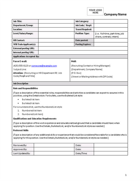 Free Job Description Template Job Description form