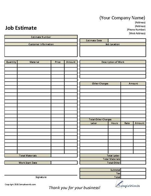 Free Job Estimate Template 12 Best Proposal Images On Pinterest