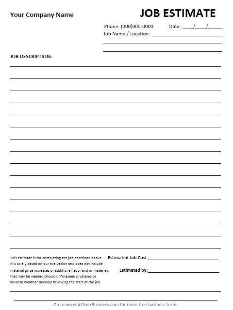 Free Job Estimate Template 13 Free Sample Job Estimate form Printable Samples