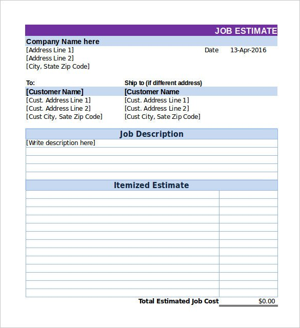 Free Job Estimate Template 26 Blank Estimate Templates Pdf Doc Excel Odt
