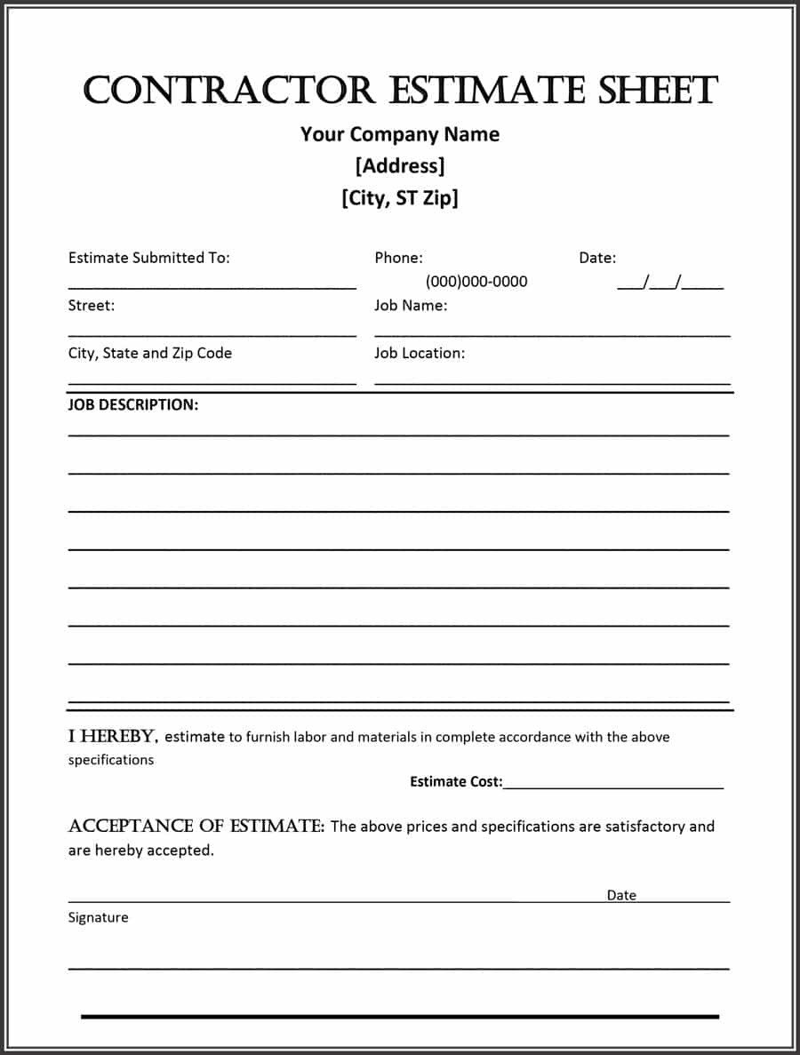 Free Job Estimate Template 44 Free Estimate Template forms [construction Repair
