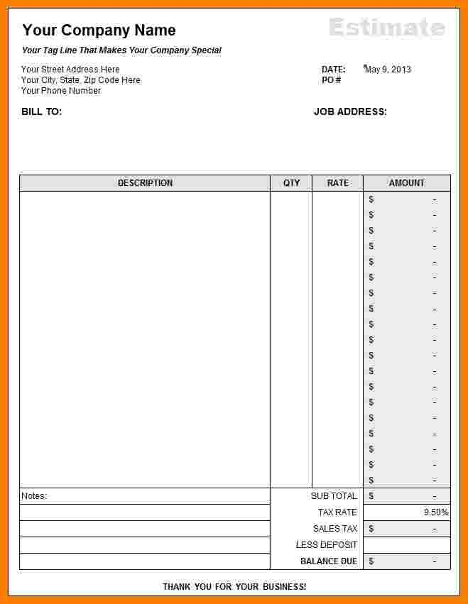 Free Job Estimate Template 7 Free Construction Estimate Template Pdf
