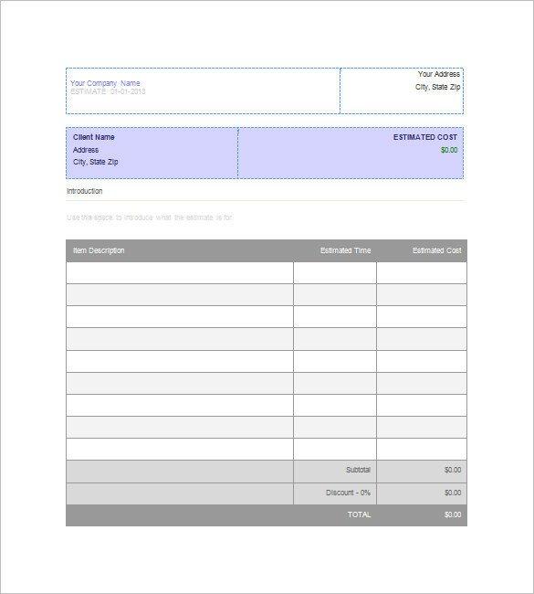 Free Job Estimate Template Blank Estimate Template – 23 Free Word Pdf Excel Google