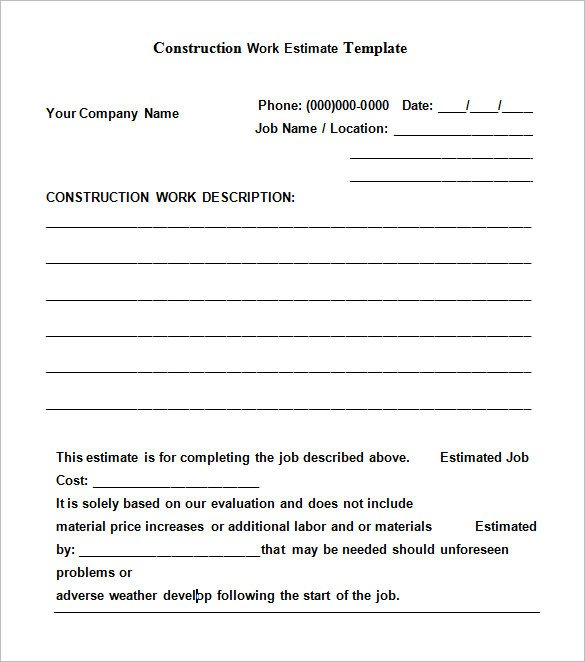 Free Job Estimate Template Free Construction Estimate Templates Collections