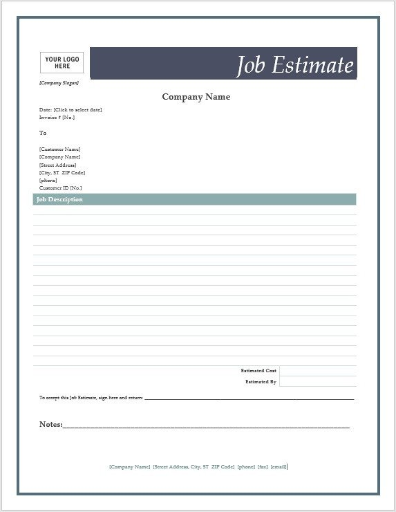 Free Job Estimate Template Free Job Estimate forms – Microsoft Word Templates