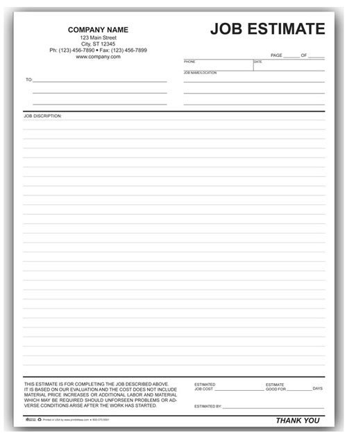 Free Job Estimate Template Landscaping Work order form [794]