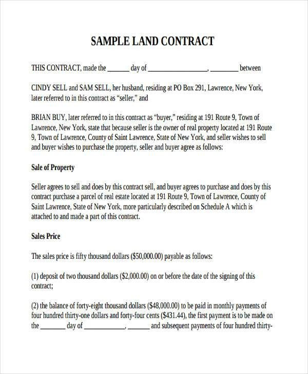 Free Land Contract forms 30 Contract Agreement forms
