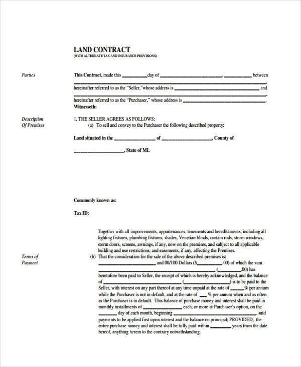 Free Land Contract forms 38 Sample Free Contract forms