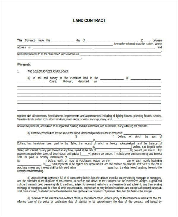 Free Land Contract forms 7 Land Contract form Samples Free Sample Example
