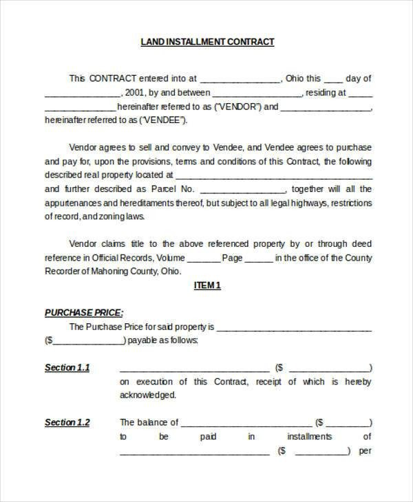 Free Land Contract forms Contract form Templates