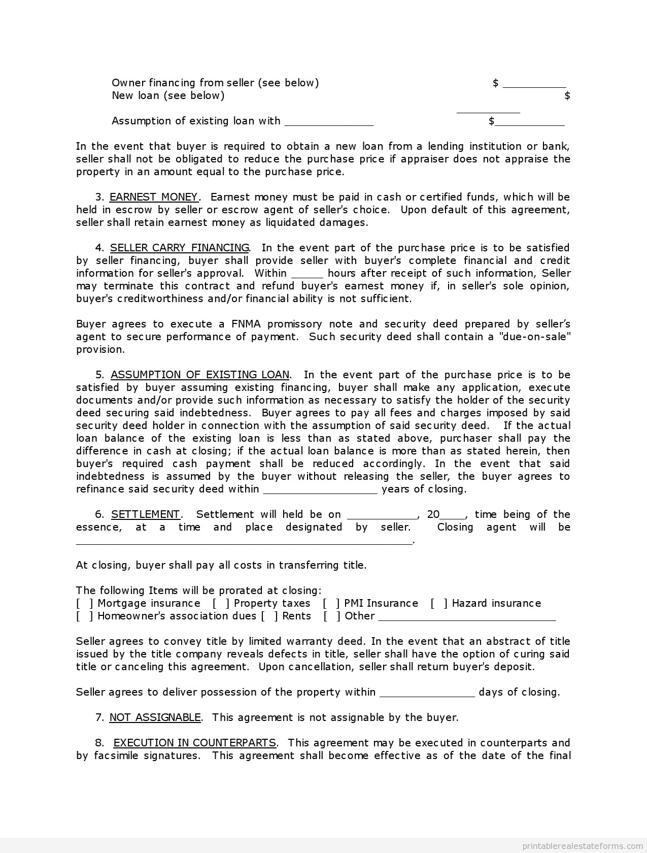Free Land Contract forms Free Contract to Sell On Land Contract form