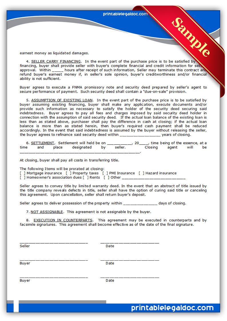 Free Land Contract forms Free Printable Contract to Sell Land Contract form