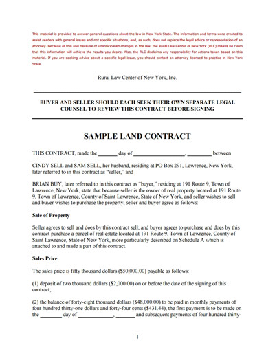 Free Land Contract forms Land Contract Template Free Download Create Edit Fill