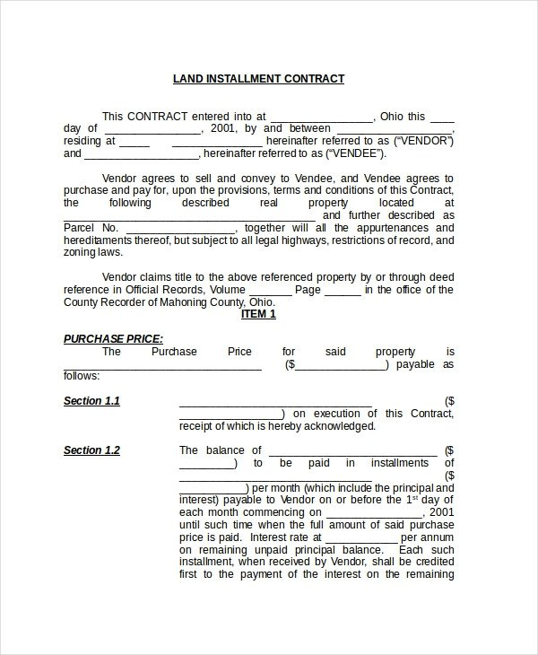 Free Land Contract forms Sample Land Contract form 8 Free Documents In Pdf Doc