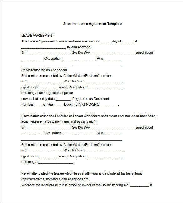 Free Lease Agreement Template Download 17 Lease Template Doc Pdf