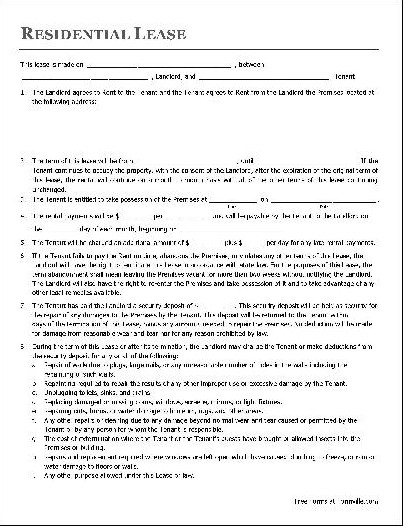 Free Lease Agreement Template Download Free Lease Agreement Template