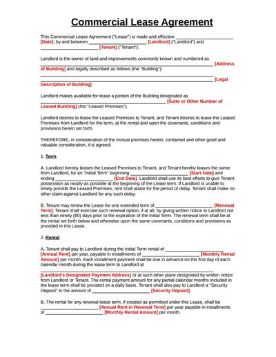 Free Lease Agreement Template Download Mercial Lease Agreement Template Free Download Create