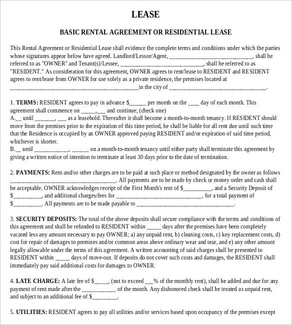 Free Lease Agreement Template Download Rental Agreement Templates – 15 Free Word Pdf Documents