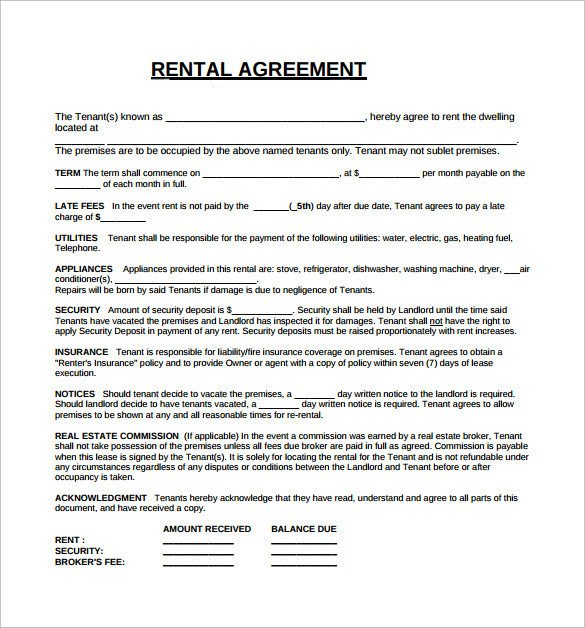 Free Lease Agreement Template Download Rental Lease Agreement 5 Free Samples Examples format