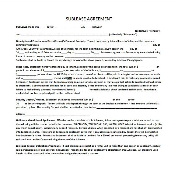 Free Lease Agreement Template Download Sublease Agreement 25 Download Free Documents In Pdf Word