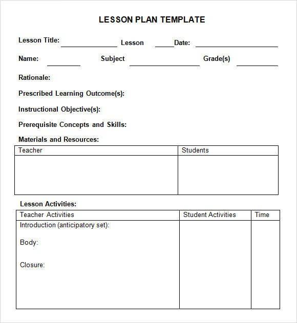 Free Lesson Plan Template Word Sample Weekly Lesson Plan 8 Documents In Pdf Word