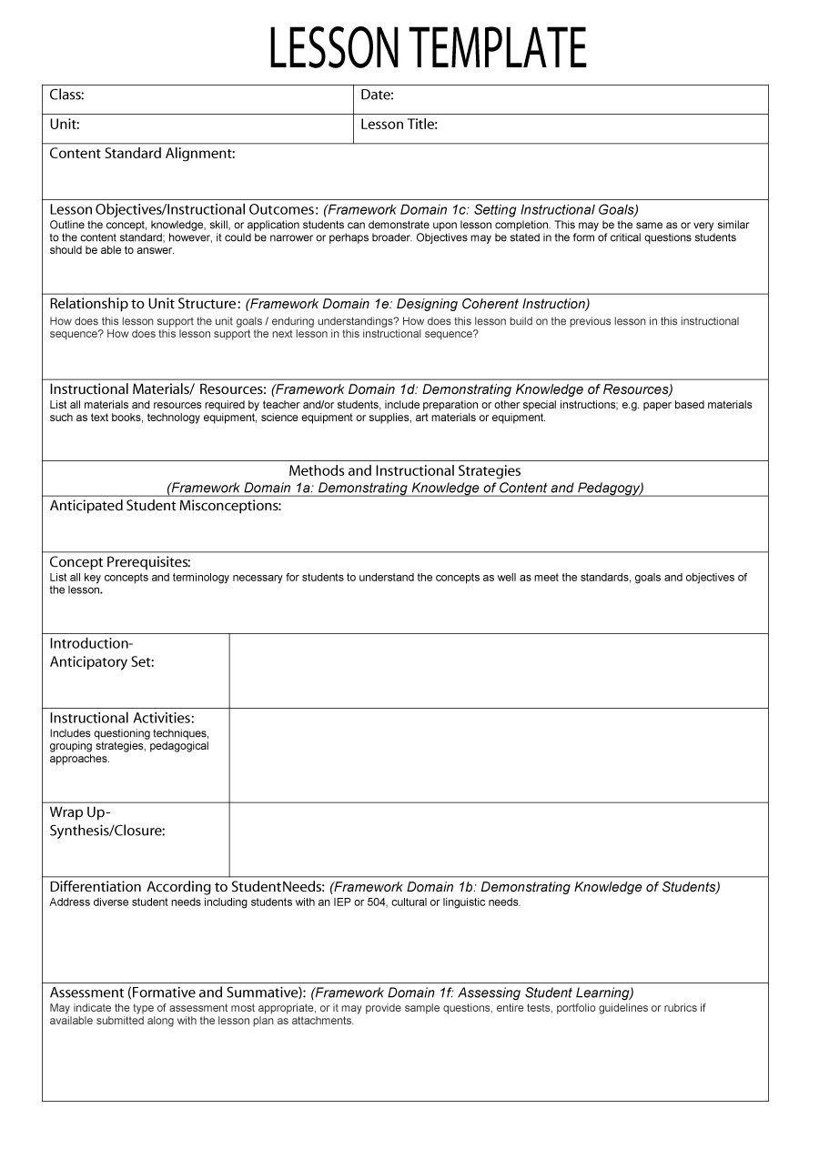 Free Lesson Plan Templates 44 Free Lesson Plan Templates [ Mon Core Preschool Weekly]