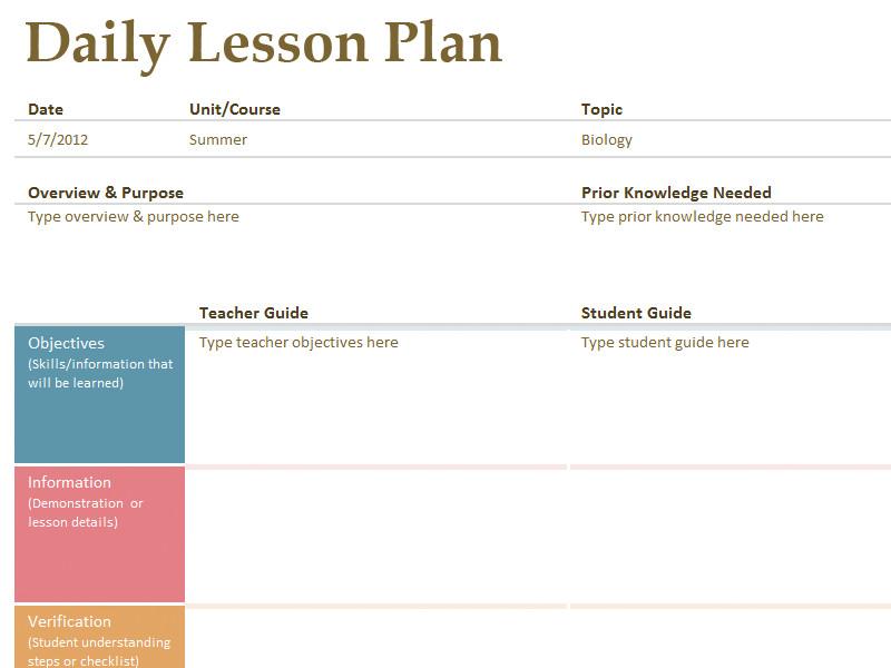 Free Lesson Plan Templates Printable Lesson Plan Template Free to